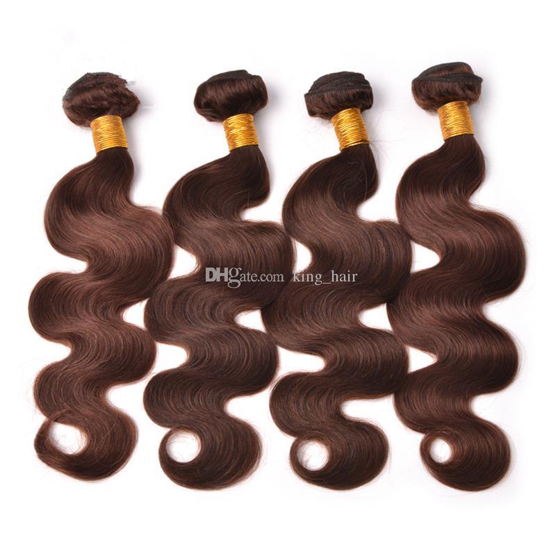 Onda del cuerpo humano del pelo humano de la Virgen malasia trama del pelo humano de Brown marrón medio Extensión del pelo ondulado # 3 para la mujer