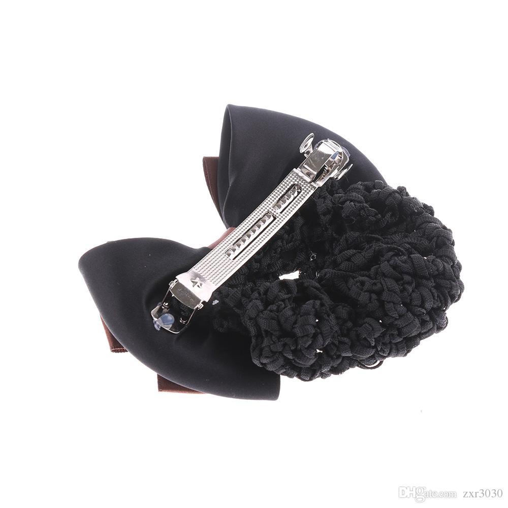 New Elegante Cor Sólida Cetim Arco Barrette Lady Grampo de Cabelo Tampa Bowknot Bun Baixada Mulheres Acessórios Para o Cabelo