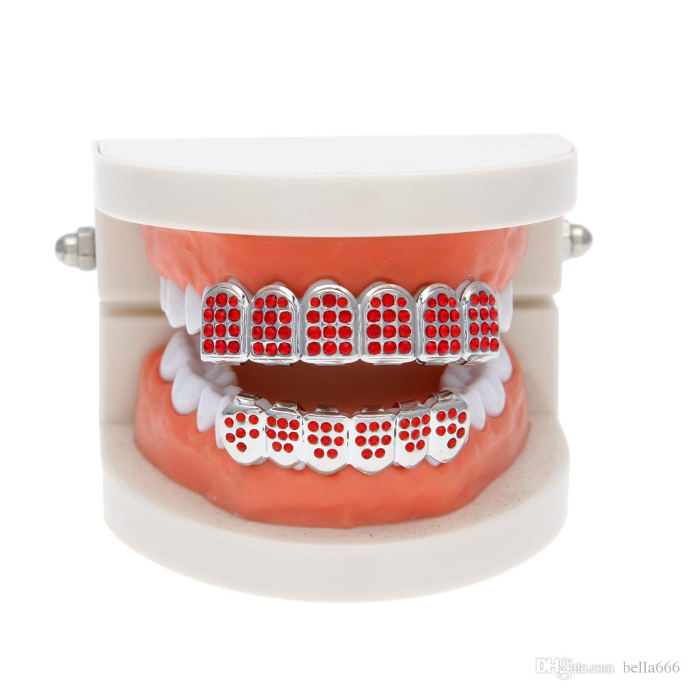 Unisex Shiny 18K Gold Plated Hip Hop Full Red Rhinestone Bling Silver Top & Bottom Body Jewelry CZ Grills Teeth Dental Rap Party Accessories