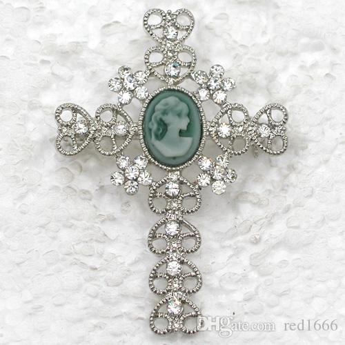 Wholesale Rhinestone Cameo Cross Pin brooches Pendant C101898