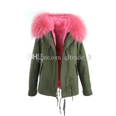 JAZZEVAR brand blue fur trim 100% rabbit fur lining army mini canvas parkas Liner Detachable women snow coats as mrs style