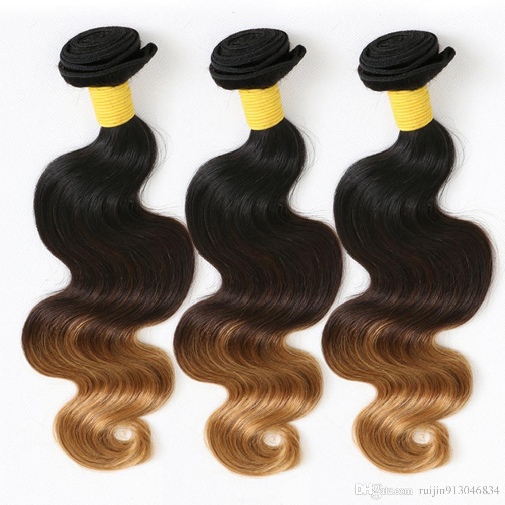 Fasci di capelli umani ESSVIGANTE Ombre brasiliano Body Weave # 1B / 4/27 I più venduti Virgin Ombre Capelli umani 3 tonalità di capelli Ombre estensioni