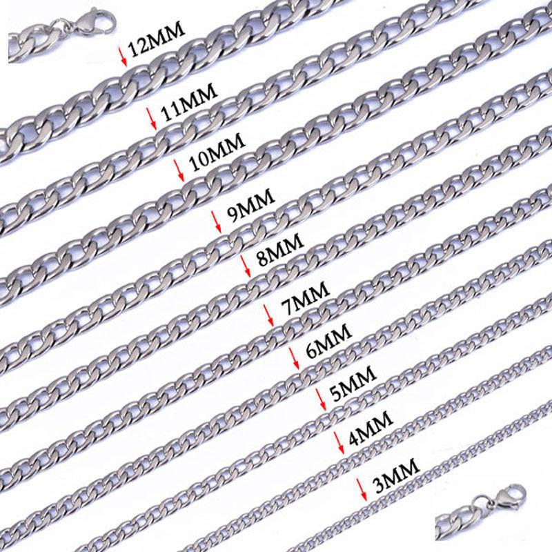 """Width 3mm/4mm/5mm/6mm/7mm/8mm/9mm/10mm/11mm/12mm 316L Stainless Steel Mens NK Cool Curb Link Chain Necklace18""""-22"""" inches"""
