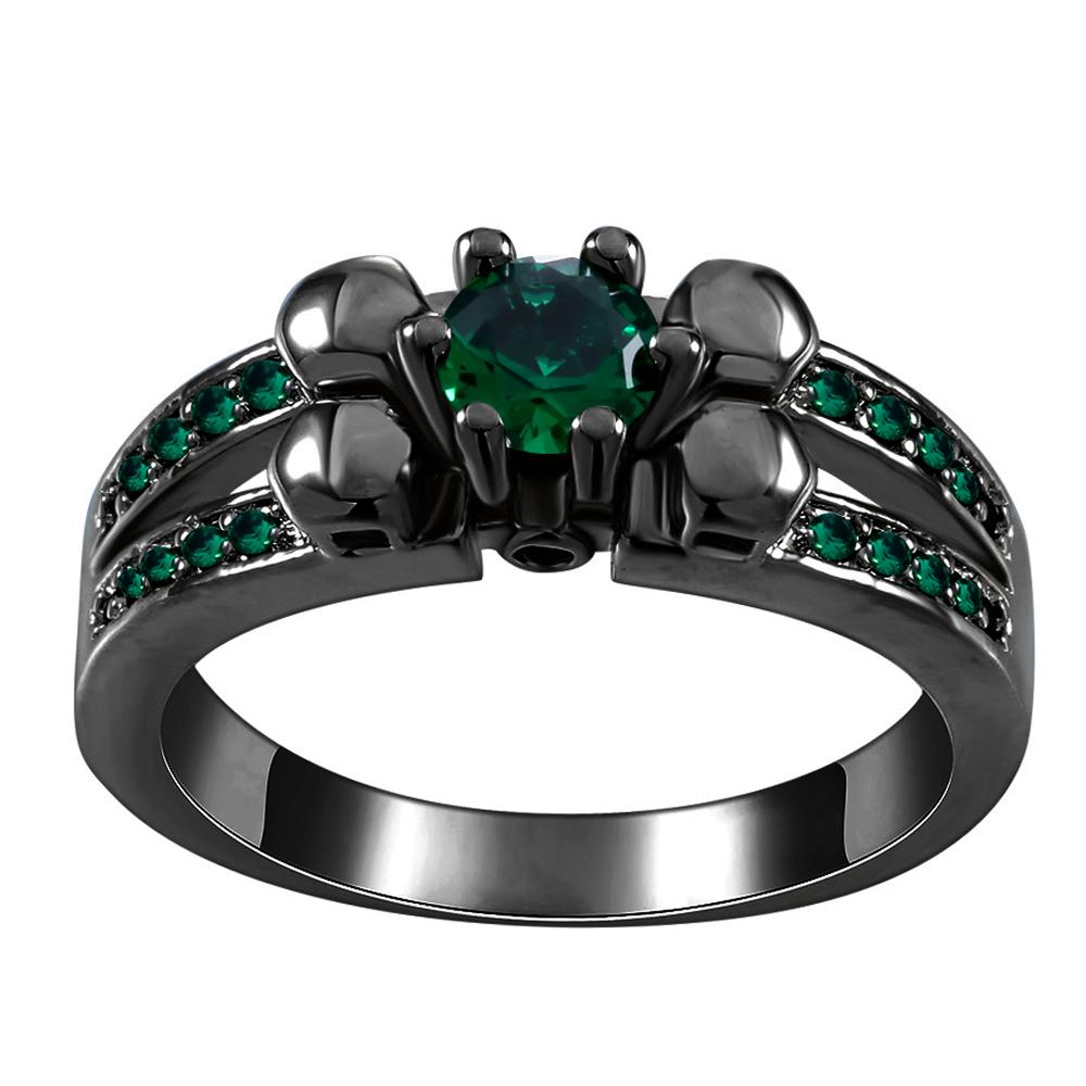 2018 Green Royal Blue Crystal Black Gun Rings For Women Vintage