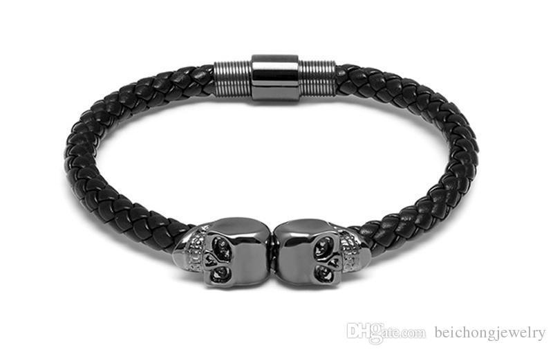 Beichong Hommes Noir En Cuir Véritable Tressé Northskull Bracelet Hommes En Acier Inoxydable Pour Femmes Or Nord Crâne Bracelet pour femmes hommes