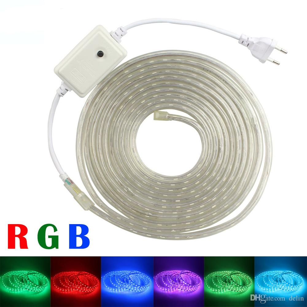 Rgb Led Strip 220v 230v 240v Waterproof 5050 Lighting Strips With 8 Tape Light Along Multicolor Wiring Mode Controller Power Plug Flexible Rope Outdoor Decoration