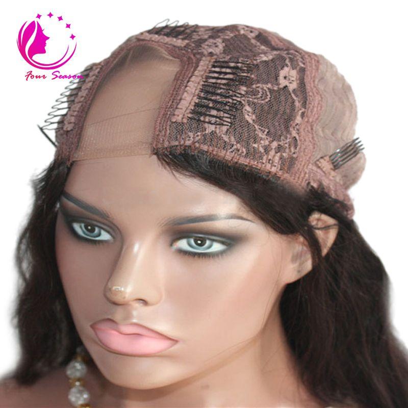 Parrucca lunga U con capelli umani serici diritti le donne nere Parte laterale / parte centrale Parrucca brasiliana vergine. Colore naturale