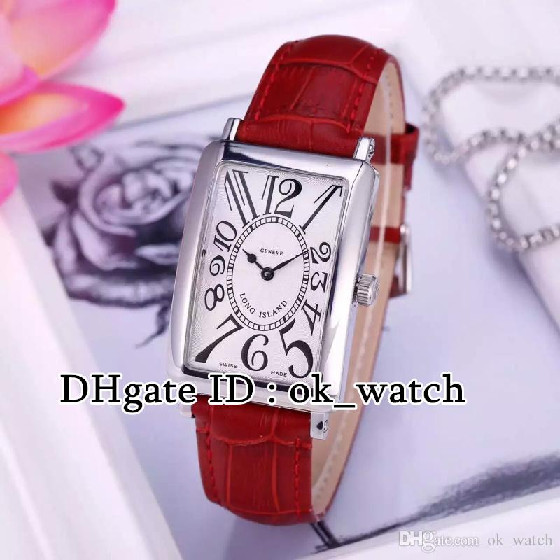 NEW High quality LONG ISLAND 952 QZ womens Quartz watches Rectangular dial red/white leather strap Ladies fashion popular watches