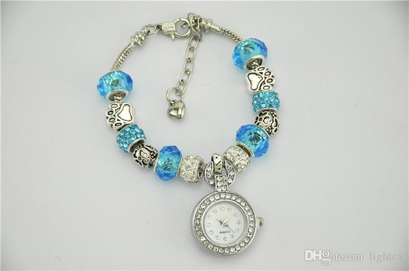New Classic Weave Dress Women Watches Stylish Crystal Rhinestones Round Pendant DIY Shambhala Chain Bracelet Wristwatch Lady Party Bracelet