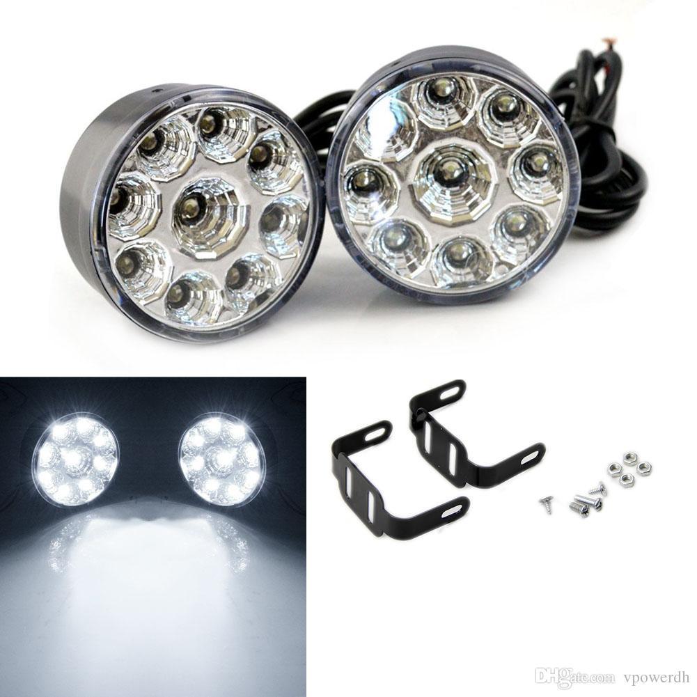 2x 9-LED lampe blanche de brouillard de voiture ronde conduite en cours d'exécution tête légère Daytime M00039 VPWR