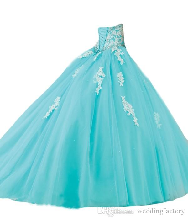 Amazing Aqua Blue Turquoise Quinceanera Dresses Puffy Ball Gown Crystals Lace Appliques Tulle Prom Party Gowns Sweep 16 Dresses Custom Made