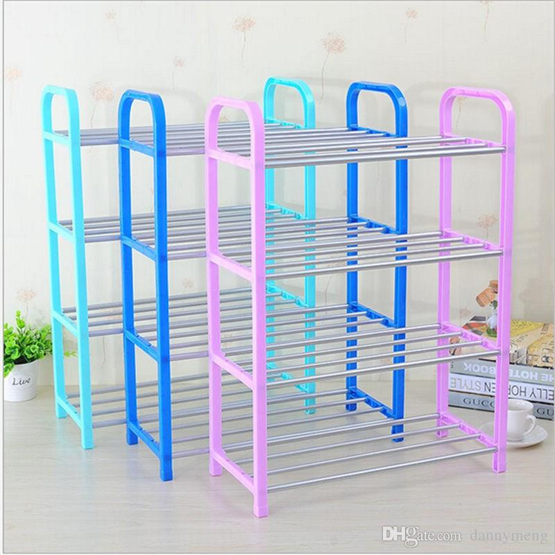 2018 Easy Assembled Plastic 4 Tier Shoe Rack Shelf Organizer Stand ...