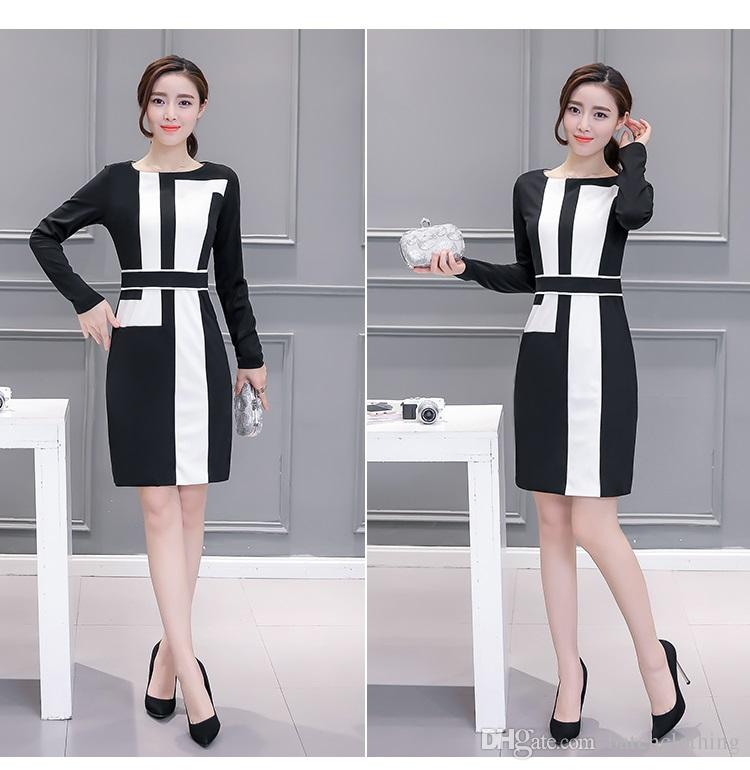 Black and white casual dresses