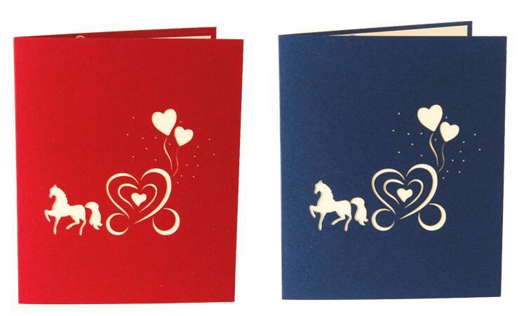 결혼식 초대장 카드 사랑 캐리지 3D 레이저 컷된 종이 절단 인사말 팝업 키리 가미 카드 사용자 정의 엽서 소원 선물