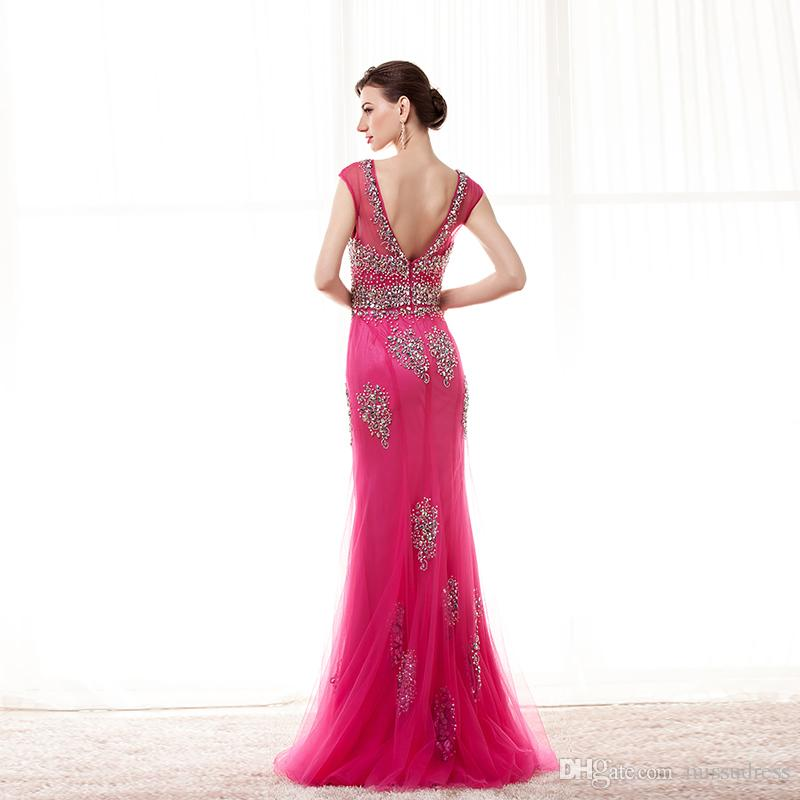 Crystal Sparkly Fuschia Prom Dresses Sheer Neckline V Back Tulle Sexy Evening Dresses Cap Sleeve yellow Mermaid prom dress real picture