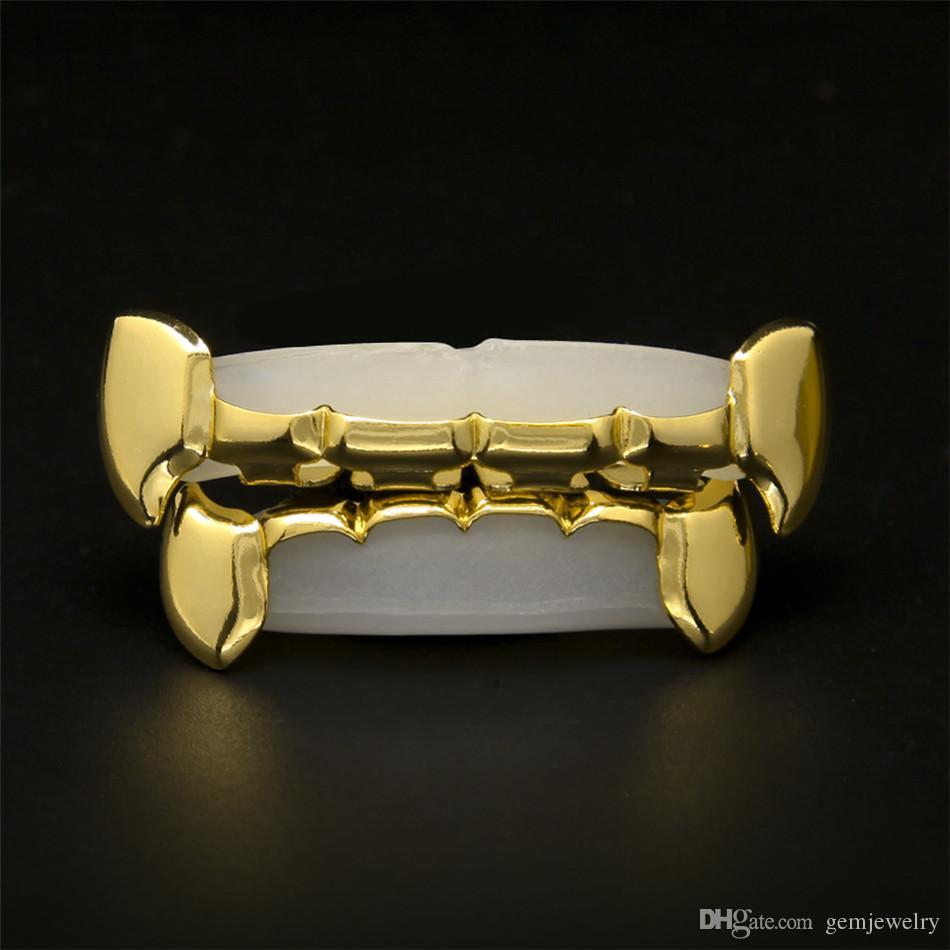 Fang Grillz Set 24k Rose Gold Plated Half Teeth Dracula Vampire Fangs Slim Grills Gold Top & Bottom Grillz Teeth Set