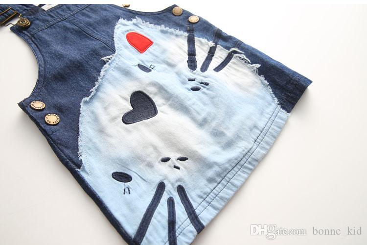 2017 niedlichen Kätzchen Baby Mädchen Schule Overall Kleid Denim Jeans Hosenträger Pinafore Rock Herz Nase Katze Kind Kleiden 2-7 T Wholes Hohe Qualität