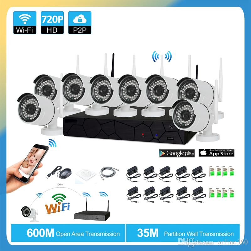 8CH CCTV Sistemi Kablosuz 720 P NVR 8 ADET 1.0MP IR Açık P2P Wifi IP CCTV Güvenlik Kamera Sistemi Gözetim Kiti