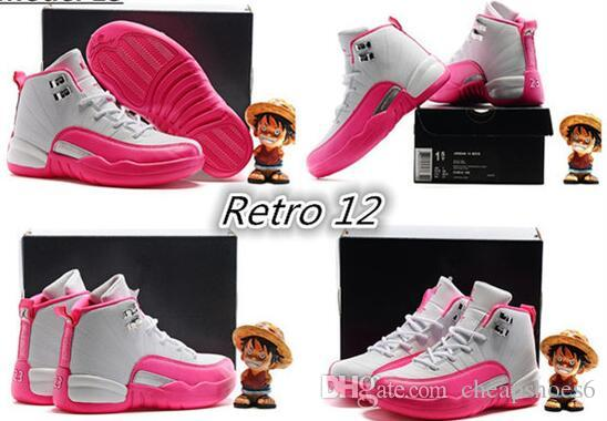 66a0f3eca24b4a 2018 New Free Shiping Cheap Children Athletic Boys And Girls Dynamic Pink  Valentines 12 XII Sneakers Kids Basketball Shoes Kid Shoe Cheap Sneakers  For ...
