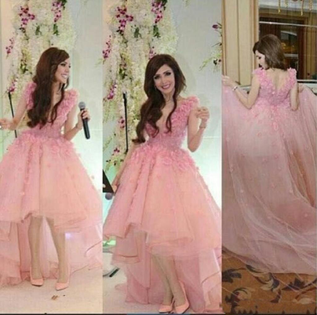Lovely Pink High Low Prom Dresses 2017 Vestidos De Fiesta Arabic ...