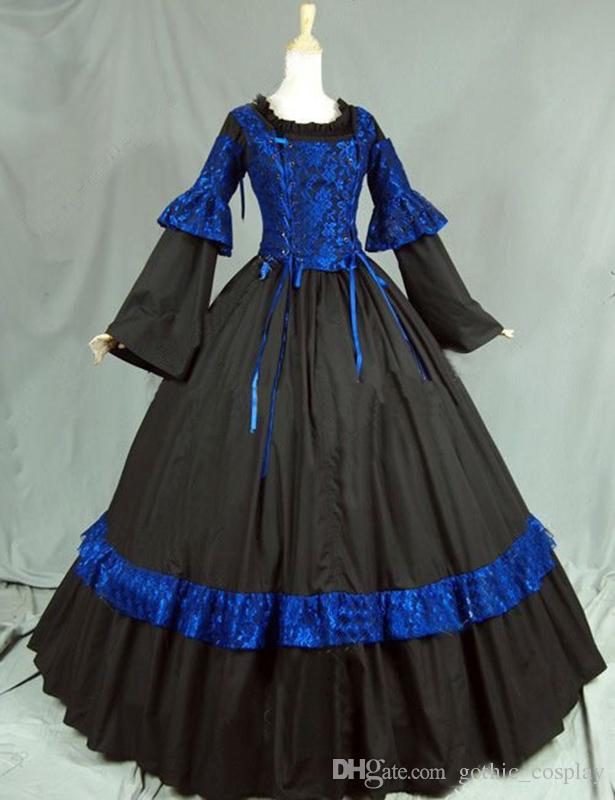 81557ea018 Free Shipping 2016 Blue and Black Long Sleeve Gothic Steampunk Corset  Lolita Dress Drop Shipping