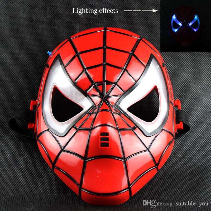 Children or Adult Hero Masks Carton Spiderman Batman Superman Hulk Ironman Mask With LED Light Full Face Masks Film Theme For Guys Cosplay