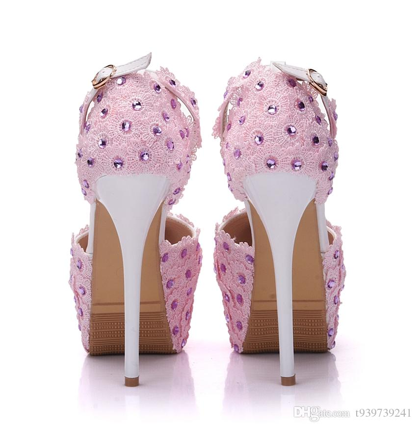 Crystal Queen Pink Lace Wedding Pumps High Heels Shoes Women Pink Lace Flower Wedding Shoes Rhinestone Shoes Ultra Sandals Pumps