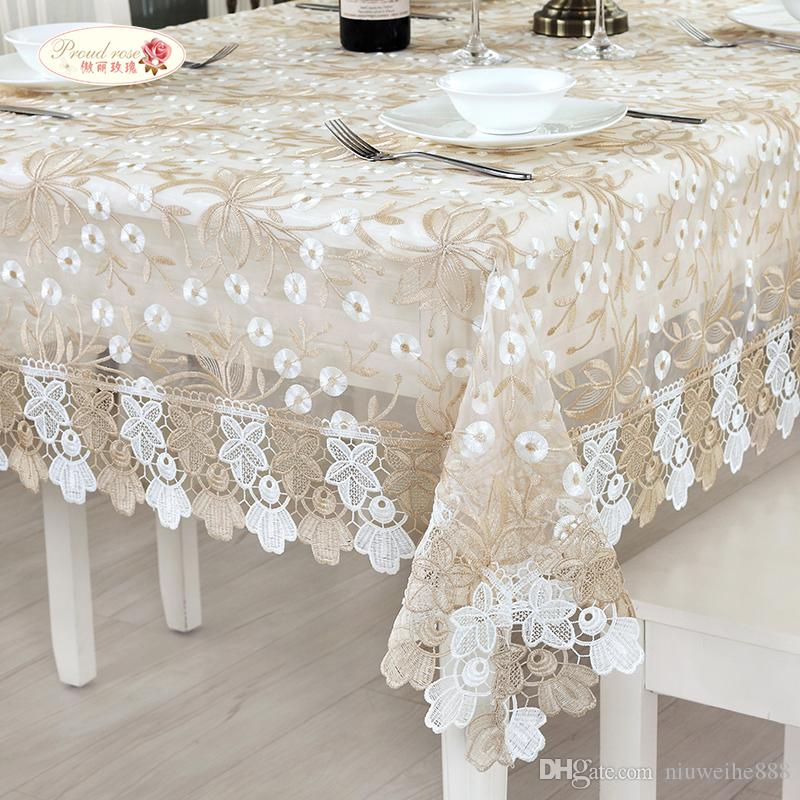 Great European Elegant Lace Embroidered Tablecloth/ Glass Yarn Tea Table Cloth  Round Tablecloth/ Modern Adornment Tablecloth Grey Tablecloth French  Tablecloths ...