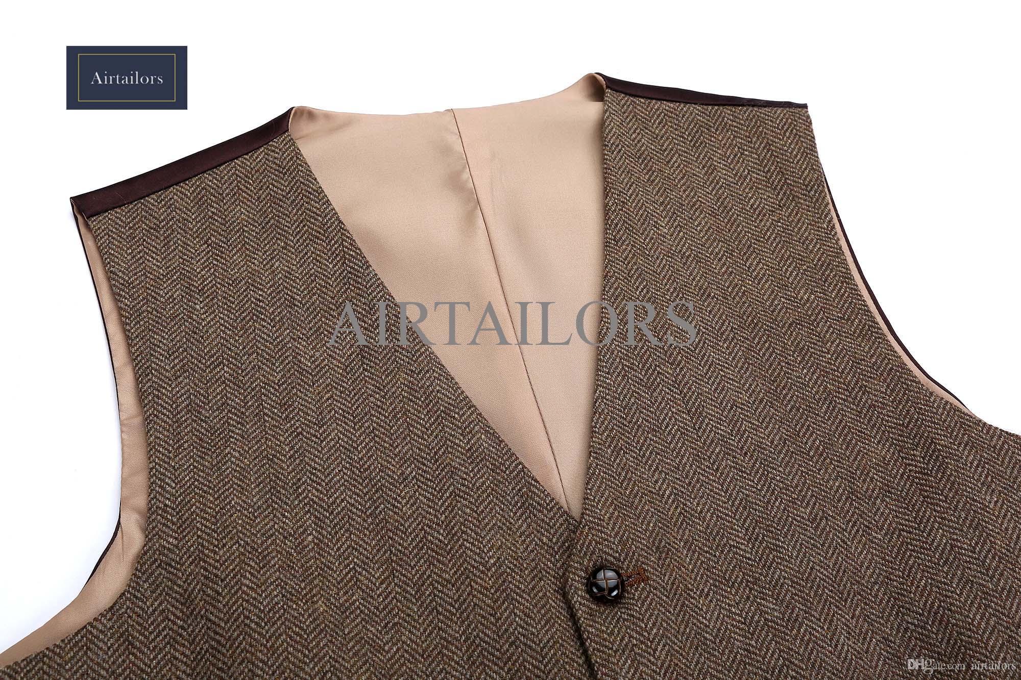 2018 New Vintage Wool Brown Herringbone Tweed Vests Brand Mens Suit Vest Slim Fit Farm Wedding Vest For Men Formal Waistcoat Men