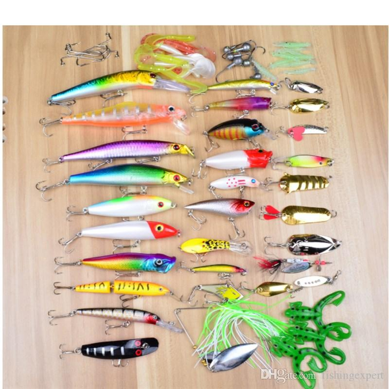 Fishing Lure Combo and Double-deck Box-packed Various Fishing Baits Sets or Minnow Crankbaits Grub Worms Spoons Lifelike Fake Baits