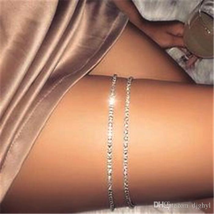 Argent Couleur 2Rows Cristal Sexy Femmes Belly Taille Chaîne Corps Bijoux Étincelant Strass Ceinture Chaîne Du Corps Party Club Danseur