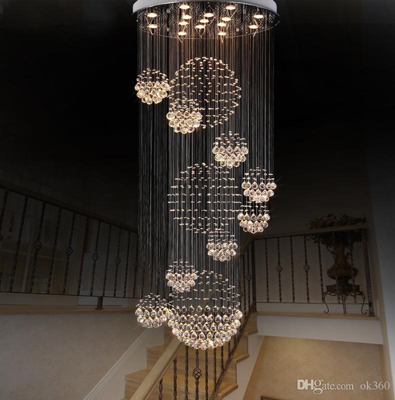 Foyer De Longue Spirale Lampe Lumière Grand En Encastré Hall Pour Moderne Cristal Lustre D Entrée Escalier Luminaire Plafond EHW29DIY