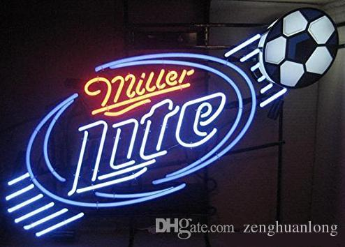 Fashion Hanscraft Miller Lite Soccer Football NEON SIGN FIND YOUR BEACH Real Glass Beer Bar Display Neon Sign24x20!!!