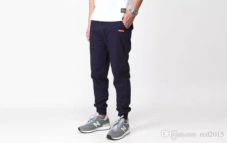 Wholesale-NEW Men Casual Punk Slim Skinny Cropped Capri Tapered Harem Pants Jeans Trousers In the spring of han edition men