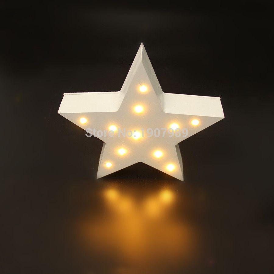 marquee lighting. Wholesale- MINI White Wooden Star Shape Light LED Marquee Sign Valentine\u0027s Gift Indoor Dorm Lighting Led Lights