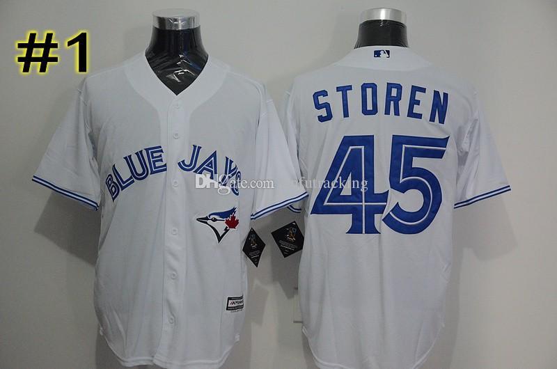269fd769571 ... Flex Base 2017 Toronto Blue Jays Jerseys Baseball Cheap 43 R.A. Dickey  45 Dalton Pompey Jersey Cool Base ...