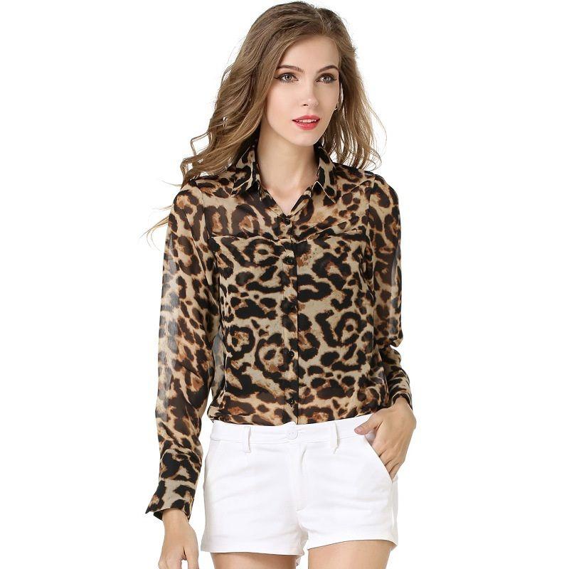 559649279c8f 2019 2017 New Fashion Women Shirt European Summer Style Sexy Leopard Shirts  Loose Chiffon Blouse Elegant Chiffon Shirt ST032 From Mark198976, ...