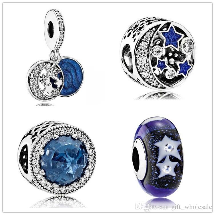 Starfish sky opal glassa ciondolo fascino 925 sterling argento europeo charms galleggiante perline con braccialetto in stile smalto blu gioielli fai da te