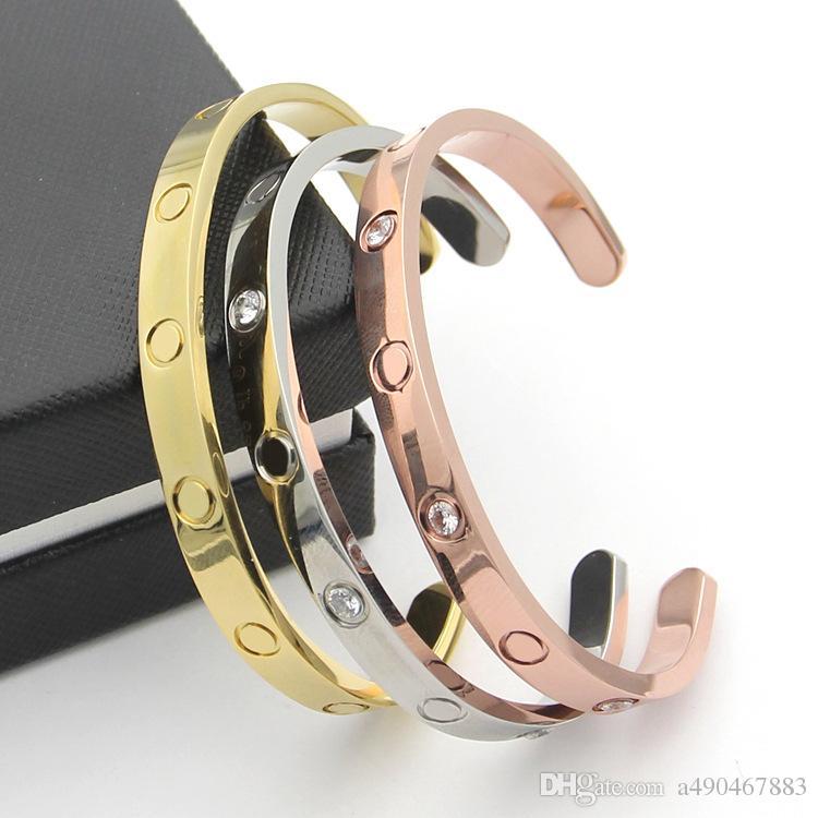 Vente chaude Nouveau style argent rose 18k plaqué or 316L en acier au titane ouvert amour bracelet à vis bracelet pour hommes couple femme venir avec sac à poussière
