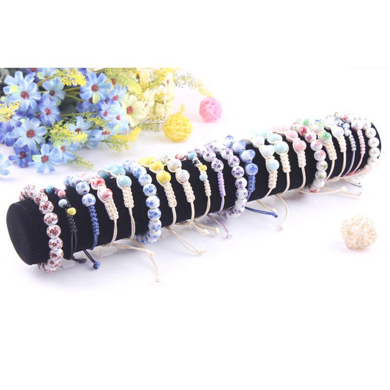 Black Stick Round Roller Bangle Stand Bracelet Holder Watch Shelf Jewelry Display Jewelry Accessory Stand Organizer Showcase