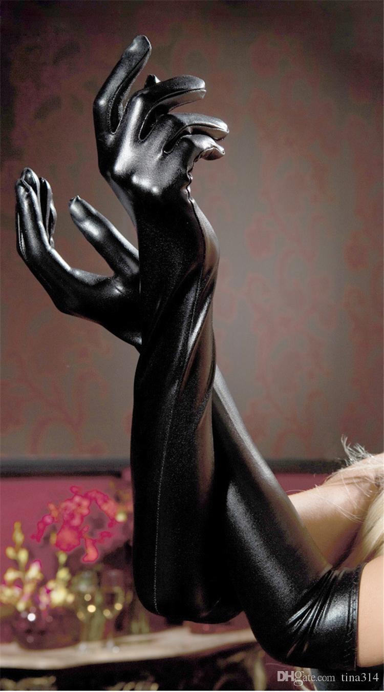 Wholesale - Ladies gloves patent leather glove black long tube glove pole dancing gloves role play cozy gloves BA028