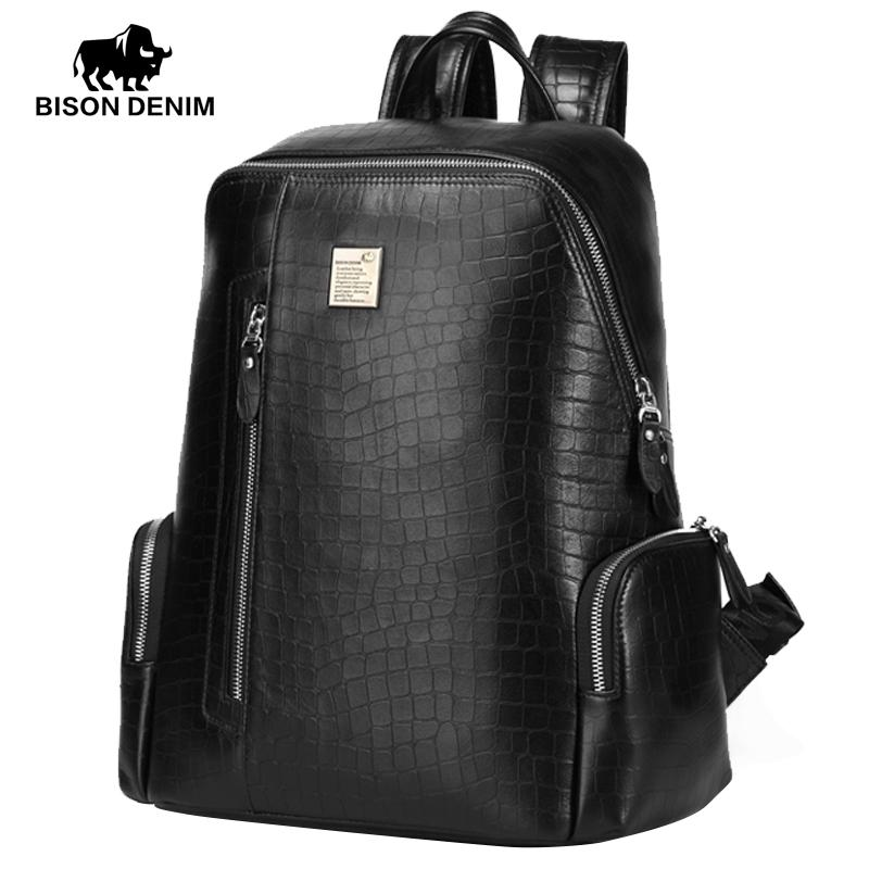 Wholesale- BISON DENIM Genuine Leather Backpacks For Men And Women ... 38ac6f04e40d