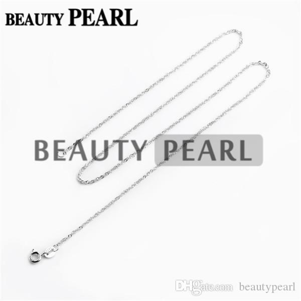 Sterling Silver DIY Jewelry Necklace Collar 1mm 925 Sterling Silver Water Wave Chain Wholesale