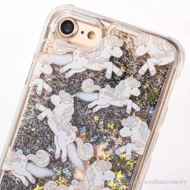 Unicorn Quicksand Liquid Hard PC Case For Iphone 7 Plus I7 7PLUS 7gen Glitter Bling Horse Star Magical Dynamic Cover Flow Moving Skin Luxury