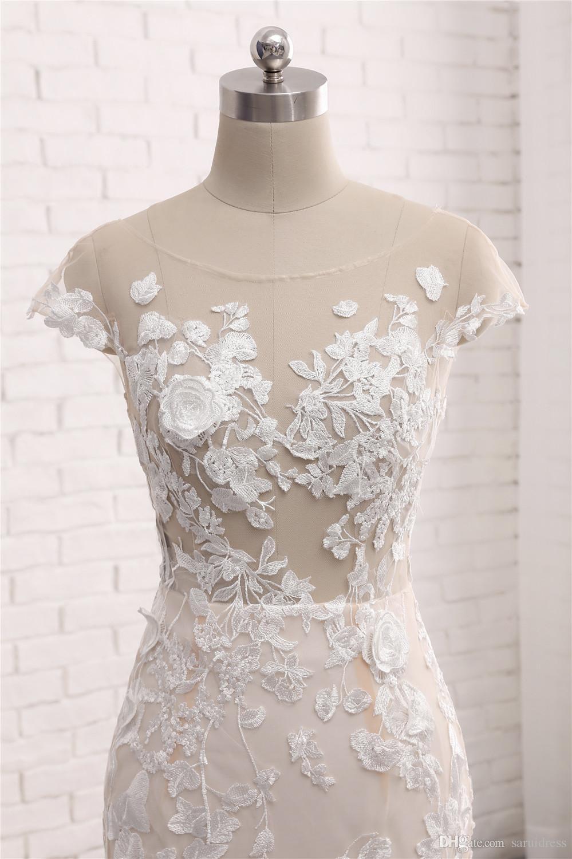 اللباس جنسي جديد طويل زفاف سكوب الرقبة أكمام قطار مصلى يزين الرباط تول الصين أثواب الزفاف فستان دي noiva