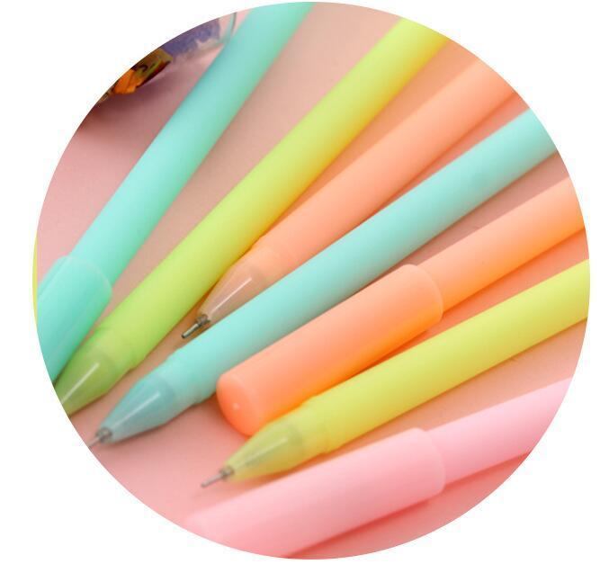12 pçs / lote bonito papelaria coreano doces cor donuts tinta preta gel caneta kawaii canetas de assinatura para o presente da promoção material de escritório escola