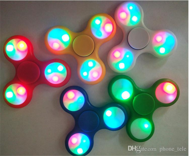 LED Light Fidget Spinner Hand Spinners With Switch LED Flash Tri Finger Fingertip Handspinner Gyro Decompression Stress Relief Toys Hot Sale