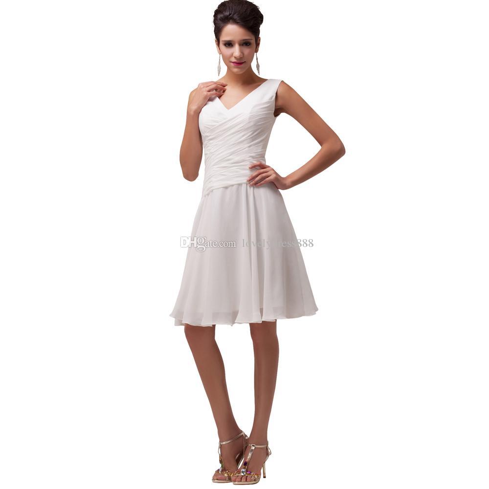 White V Neck A Line Mini Cocktail Dresses Chiffon Elegant Party ...