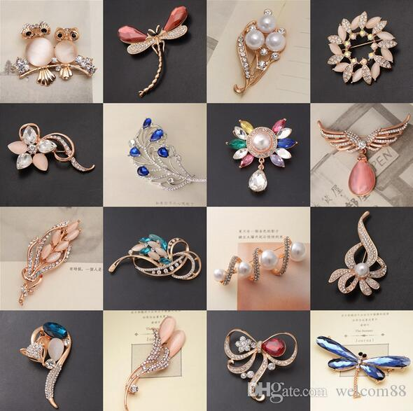 10 teile / los Mix Stil Farben Mode Kristall Schmuck Broschen Pins Für Handwerk Geschenk BR02