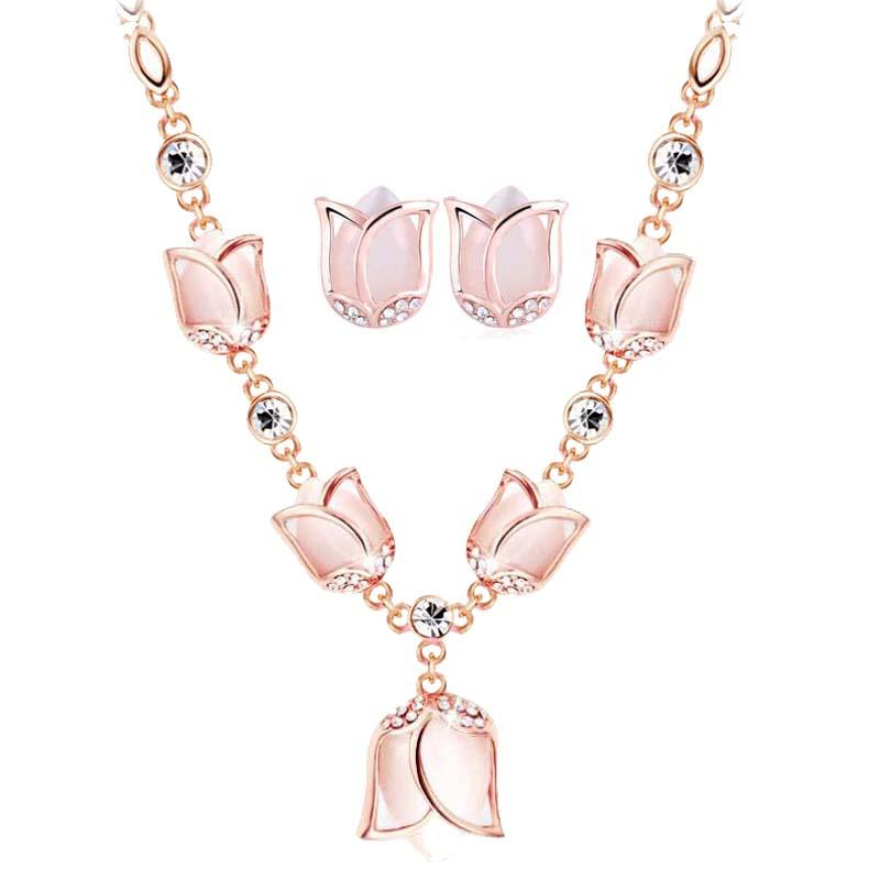 2018 Fashion Party Jewelry Set Rose Gold Color Opal Rhinestone Tulip